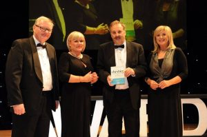 Jeremy Orrell, Kaye Whitby, David Barlow adn Lucy Meacock at Cheshire Business Awards 2015