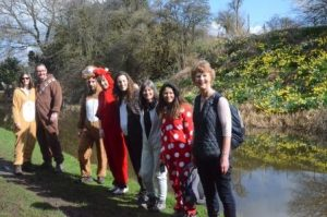 The SAS Daniels Onesie Walk - A minute's rest by the daffodils