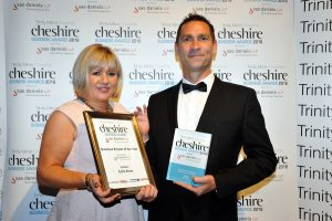 Kaye Whitby, SAS Daniels, and Colin Brew, West Cheshire & North Wales Chamber of Commerce.