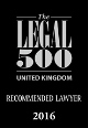Recommended Lawyer in The Legal 500 2016