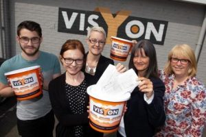 Visyon charity service users, Katie Hodson, Helen Gowin and Sandie Marshall