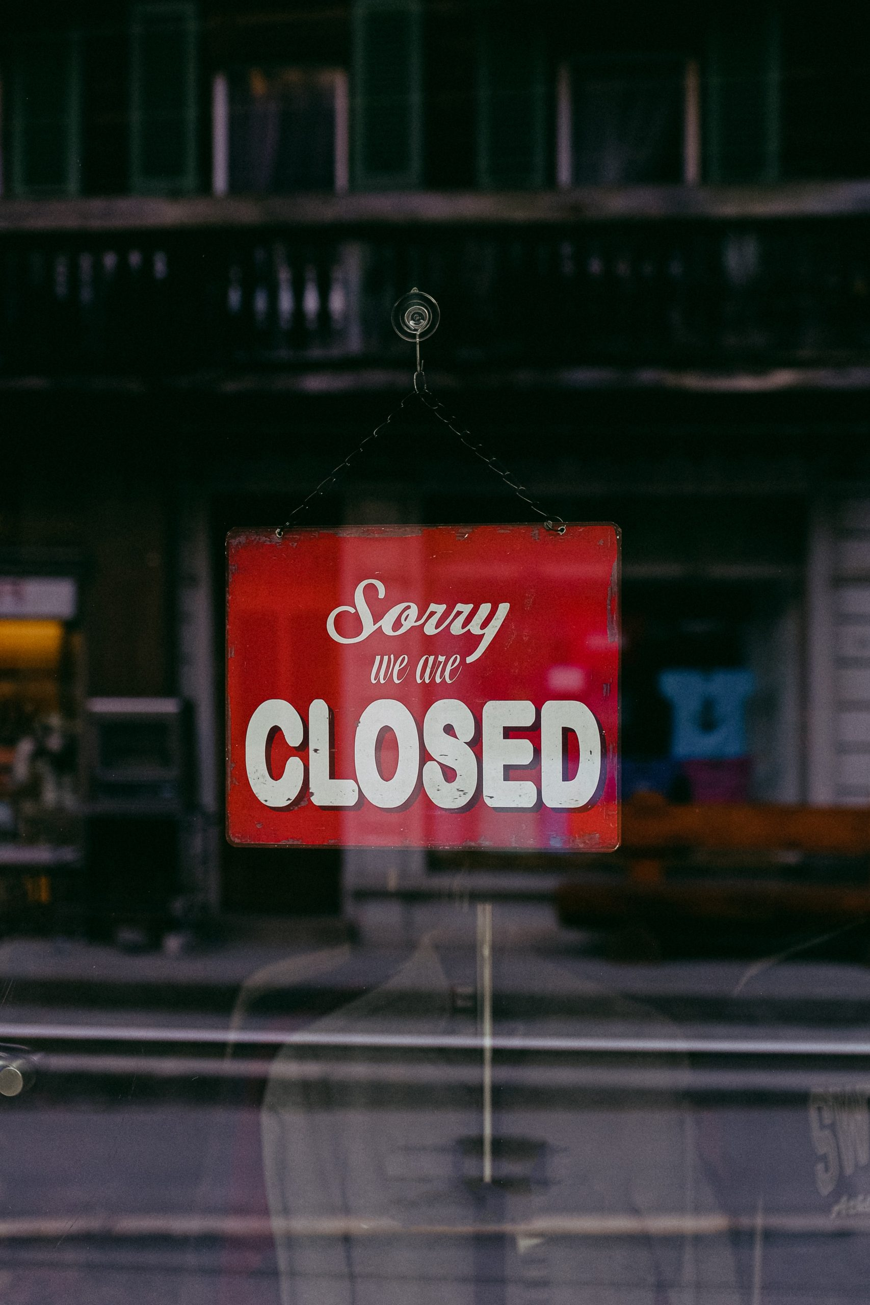 Lockdown 2 - business with 'Sorry we're closed' sign up